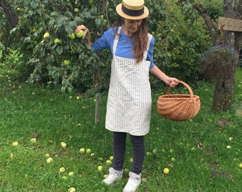 Striped Linen Pinafore Apron, Square-Cross Apron, Japanese Apron, No-ties Apron by Linenbee Mothers Day gift, kitchen apron, workshop apron