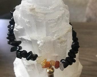 Black agate/ carnelian crystal bracelet