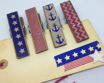 Clothes Pins Wide American USA Trendy Clothespins  Patriotic Decorative Clips Anchor Chevron Stars and Stripes Memo Clips Chip Clips