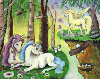 Little Girl's Custom Unicorn Painting, Enchanted Forest, Signed and Numbered