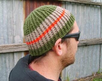 Ribbed Skullcap Wool Beanie – Green