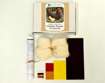 KIT:/ Chicken family- make a felt farmyard. Wool Felt Animal softie. includes craft materials and pattern - Mother Hen & 2 Chicks Easter DIY