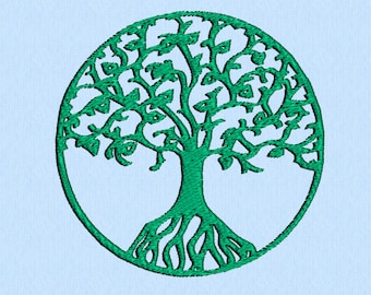 Tree of Life in a circle machine embroidery design file with two sizes