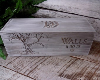 Wine Box Wedding Wine Box Wedding Gift Custom Wine Box Engraved Wine Box Anniversary Gift Wooden Wine Box Rustic Winebox Wine Box Ceremony