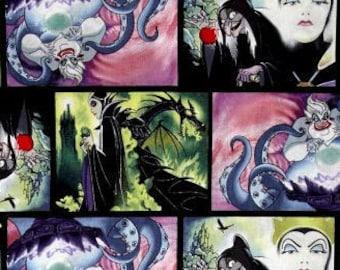 Disney Villains Patch Movie Art Multi Malificent Evil Queen Ursula Cotton Fabric by Springs Creative