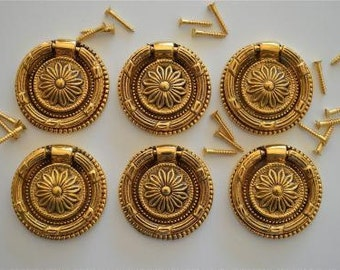 A set of 6 Victorian style brass sunflower ring pulls 2016