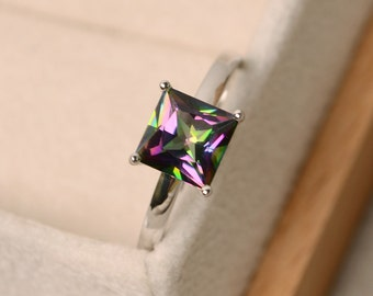 Mystic topaz ring, solitaire ring, princess cut, rainbow ring