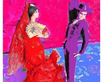 Art numérique de danseuses de flamenco imprimable Bureau mur sans cadre Art Home Decor