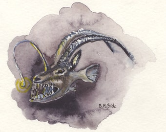 A is for Anglerope: print of original watercolor painting of hybrid animals of the alphabet. Angler Fish + Antelope