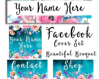 Facebook cover set watercolor bouquet flowers social media header modern watercolor graphics floral feminine profile pic