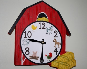 Red Barn Farm Animal Wooden WALL CLOCK for Kids Bedroom Baby Nursery WC0043
