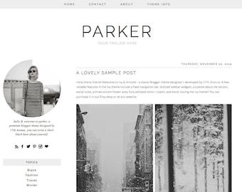 "Blogger Template Premade Blog Design - ""Parker"" Blogger Theme Simple Minimalist"