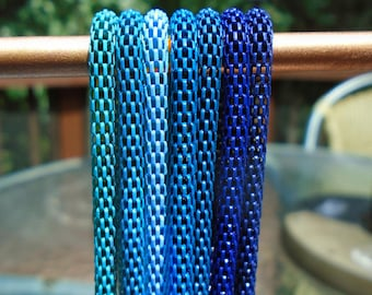 """LOT 7 blue 3mm mesh chain necklaces fit European Beads and Charms 16"""" 18"""" 20"""" 22""""  GORGEOUS COLORS!"""