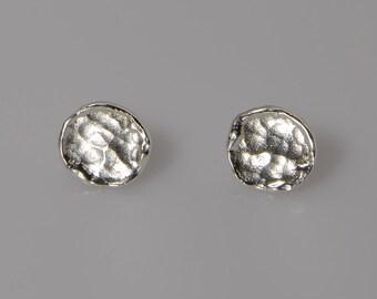 sterling silver post earrings, small stud earrings, sterling silver stud earrings, hammered stud earrings