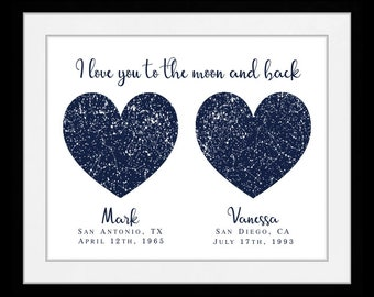 2 Location star map constellation chart night sky personalized long distance gift, unique relationship gift, custom boyfriend mom near 69568