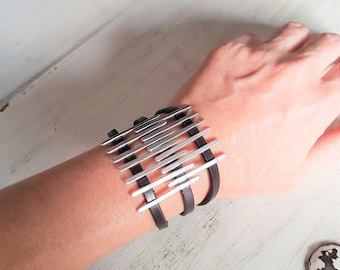 Rock style leather cuff, womens silver leather bracelet, statement leather bracelet, womens leather bracelet, statement silver cuff