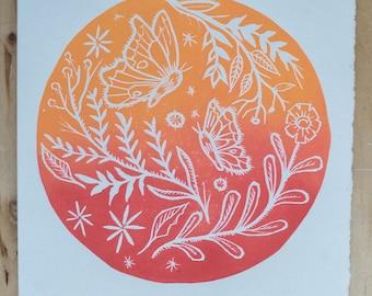 Butterflies and Flowers Original block print orange and red