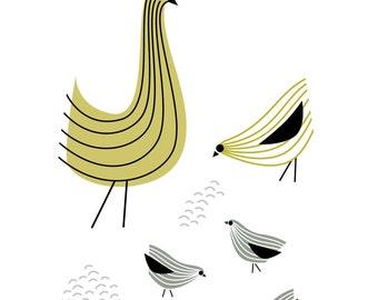Chicken Art Print, Chickens, Chicken Coop Decor, Farmhouse Chic