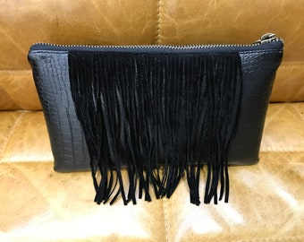"black ""reptile"" clutch/pouch with fringe - medium"