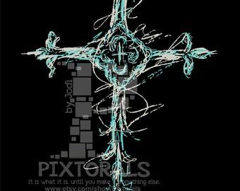 Custom Cross for Hollie. Sketchy, Vector, JPG, PNG, Clipart, Graphic, Faith