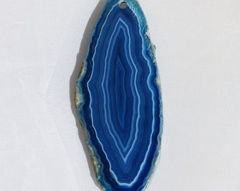 Blue Banded Agate Gemstone Pendant - 27mm x 65mm