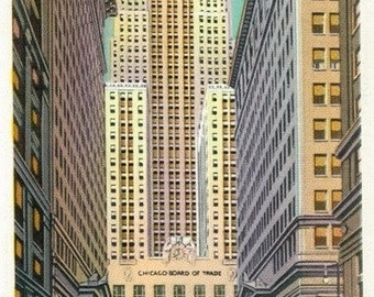 Chicago, Illinois - Exterior View of the Chicago Board of Trade Bldg; La Salle Street (Art Prints available in multiple sizes)