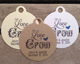 Wedding Gift Tags - Let Love Grow - Wedding Favor Tags - Customizable Personalized (WT1436)
