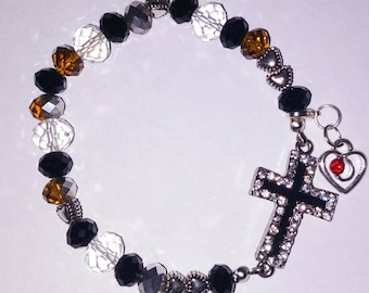 Religious Christian Jewelry Cross Heart Bracelet Religious Jewelry Christian Bling BR24