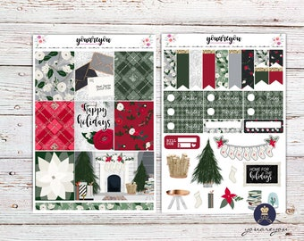 Christmas Planner Stickers Weekly Kit, Happy holidays Planner stickers for Erin Condren Vertical and Happy Planner Vertical