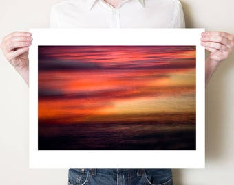 Ocean photography print. Abstract red sunset seascape double exposure photograph, Florida wall art, coastal decor. Large oversized art