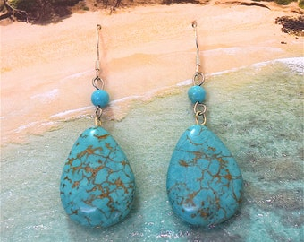 Turquoise Earring, Wholesale Discount, Turquoise Dangle Earring in Sterling Silver Ear Wire, E7080