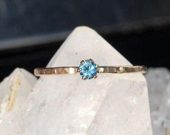 Blue Zircon Ring - December Birthstone - Durable Hammered Gold Ring - Dainty Ring - Stacking Ring - Mothers Ring - Gemstone Ring - Faceted