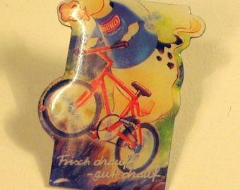German vintage funny brooch cow BUKO pin bike brooch gift idea needle Sam Mler real estate multi blue Yellow cow