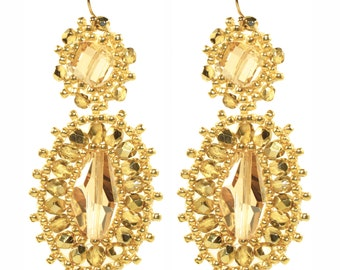 Golden Shadow Swarovski Crystal and Gold Filled Beadwoven Earrings