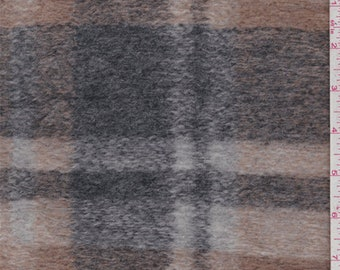 Camel/Pewter Plaid Boiled Wool Knit, Fabric By The Yard