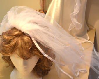 White or Ivory Bridal veil,  Wedding veil, satin ribbon veil, veil, 2 tiers veil, White veil, elbow length veil, veil with comb