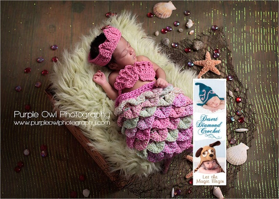 Mermaid Cape Set - Newborn Photography Prop