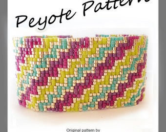 Infinity Stairs Peyote Pattern Bracelet - For Personal Use Only PDF Tutorial , geometric bracelet, stripes bracelet , delica beads tutorial