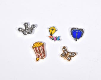 5 Children Collection Floating Charms - Floating Charms - Memory Locket Charms - Locket Charms - Mother's Gift Floating Charms - 2P1924