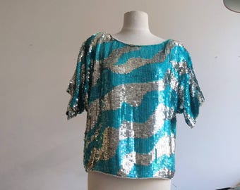 Turquoise blue and silver sequined - M/L