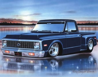 1972 Chevy C10 Stepside Pickup Classic Truck Art Print w/ Color Options