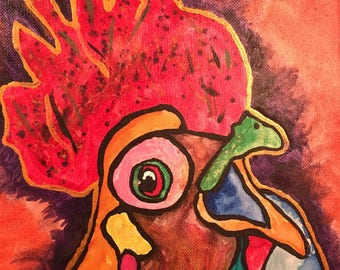 "rooster, chicken painting painting 8""x10"""