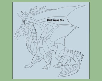 Dragon Pattern for stained glass etc