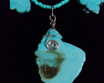 Turquoise Wire Wrapped Stone like Pendant Necklace