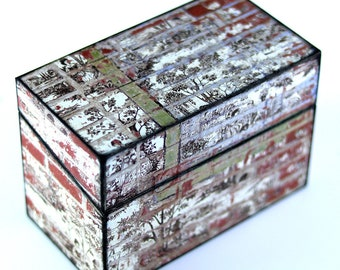 Wood Recipe Box Toille Over Bricks Kitchen Storage Fits 4x6 Recipe Cards