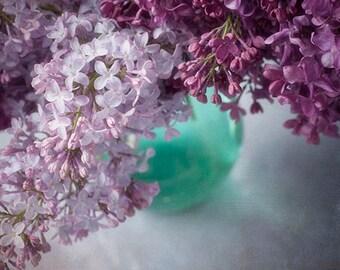 Purple Lilac Print, Flower Still Life, Floral Art Print, Flower Decor, Purple Turquoise Decor, Flower Wall Art