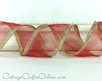 """Christmas Wired Ribbon, 1 1/2"""",  Red Sheer with Gold Metallic Striped Edge, THREE YARDS,  Offray """"Aetna Red"""" Valentine  Wire Edged Ribbon"""