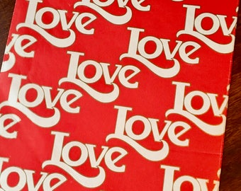 "Love, Love, Love, Valentines Day or Any Day, Vintage Wrapping Paper, Red and White, Gold Outline Letters, Vintage Hallmark, 30"" X 12"""