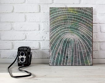 abstract painting on canvas - woven basket study - patterned art, original art, australian art, contemporary art, black green art, small art