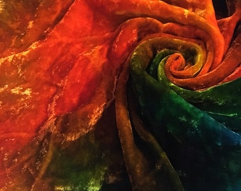 Silk Viscose Velvet hand dyed 20in by 20in